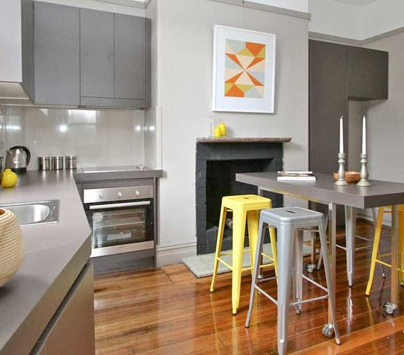 Brightly coloured kitchen styling