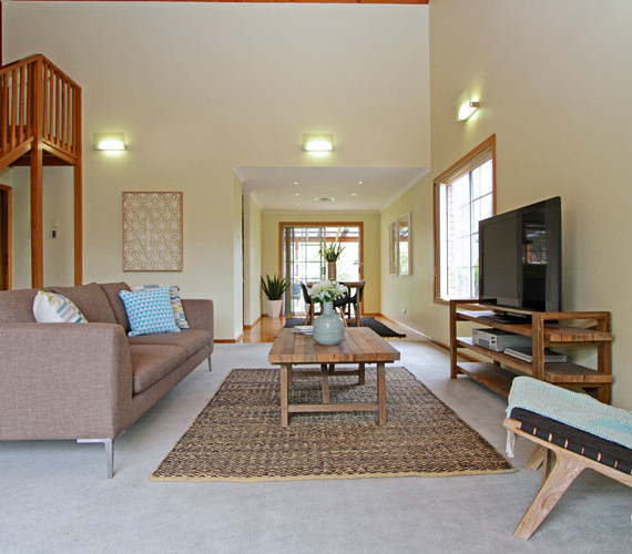 Relaxed property staging in this beach home