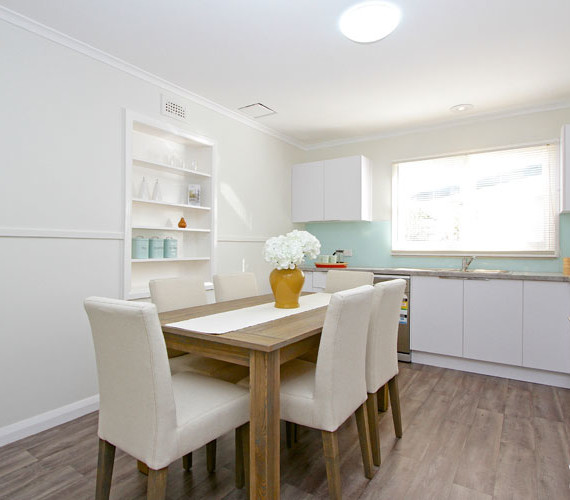 Kitchen dining area in renovated home