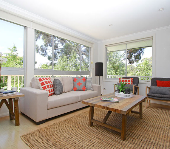 Lounge room styling in this vacant home