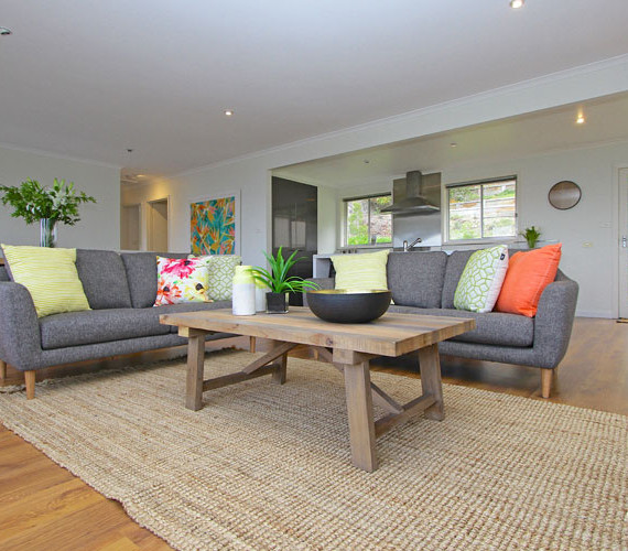 Bright styling in lounge room