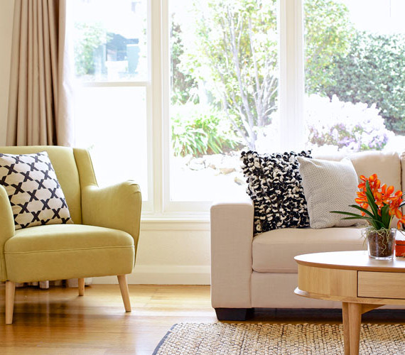Lounge room styled to suit the market